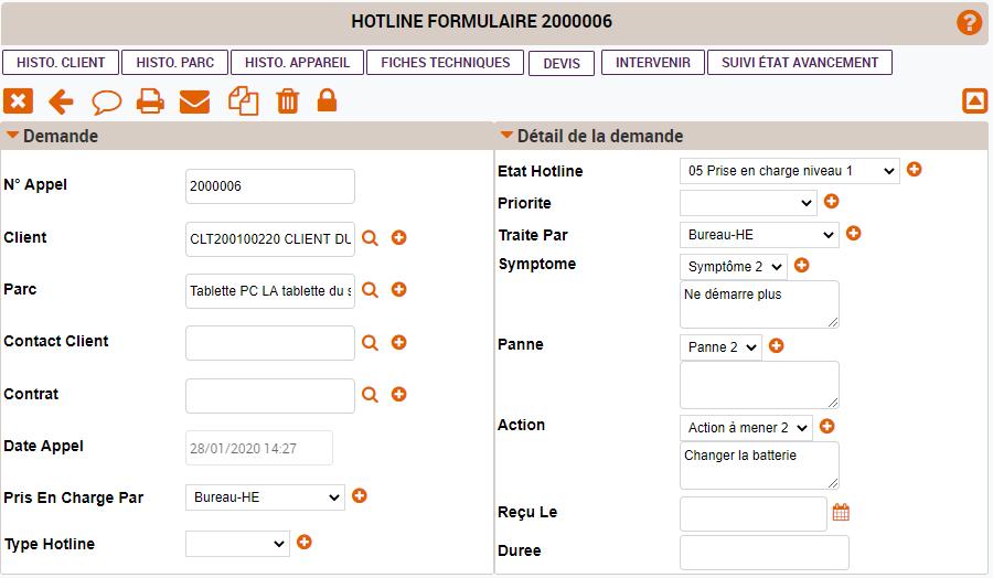 Formulaire hotline