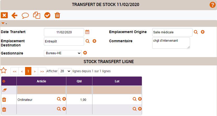 transfert de stock